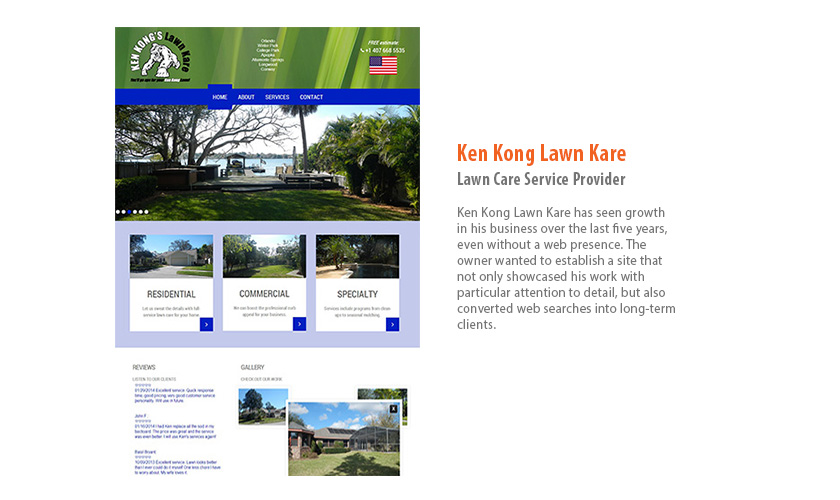 Ken Kong Lawn Kare Website by Mango Ibis